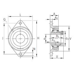 Чертеж-схема подшипника RCJT1-3/4 INA