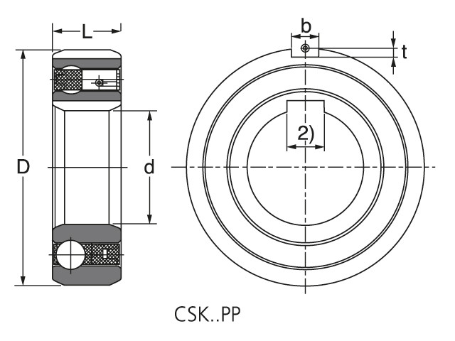 Чертеж-схема подшипника CSK 30 PP ROLEK