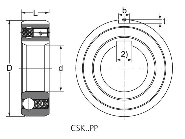 Чертеж-схема подшипника CSK 25 PP ROLEK