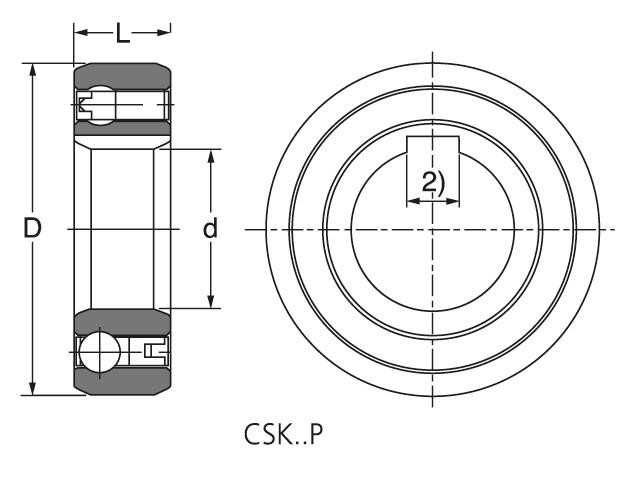 Чертеж-схема подшипника CSK 25 P ROLEK