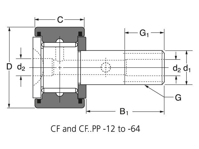 Чертеж-схема подшипника CF 18 PP ROLEK