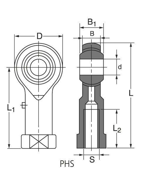 Чертеж-схема подшипника PHS 30 L ROLEK