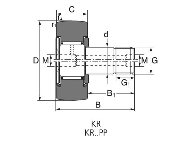 Чертеж-схема подшипника KR 16 PP ROLEK