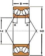 Чертеж-схема подшипника NJ214 ECJ