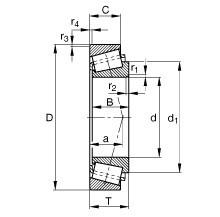Чертеж-схема подшипника NJ2222 ECP