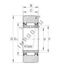 Чертеж-схема подшипника NA2205