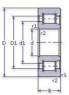 Чертеж-схема подшипника NJ310 ECP
