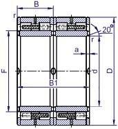 Чертеж-схема подшипника NJ311 ECJ