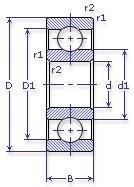 Чертеж-схема подшипника NU326 ECM