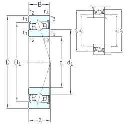 Чертеж-схема подшипника HK3020-2RS INA