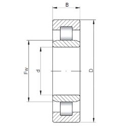 Чертеж-схема подшипника NU2238