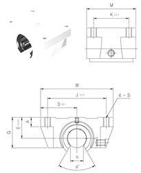 Чертеж-схема подшипника TBR30UU Samick