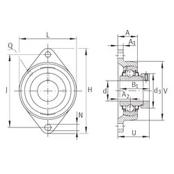 Чертеж-схема подшипника RCJT1-7/16 INA