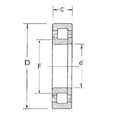 Чертеж-схема подшипника NUP2211