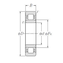 Чертеж-схема подшипника NU313