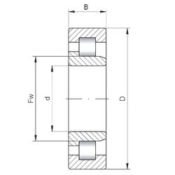 Чертеж-схема подшипника NJ2205