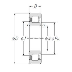 Чертеж-схема подшипника NJ2222