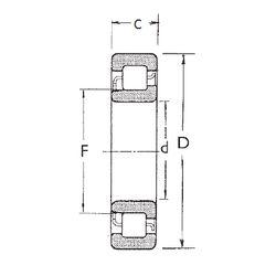 Чертеж-схема подшипника NJ2305