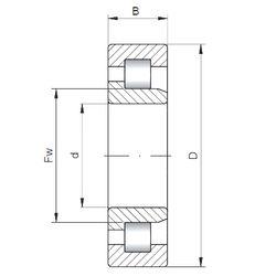 Чертеж-схема подшипника NJ2204