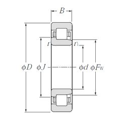 Чертеж-схема подшипника NJ2326