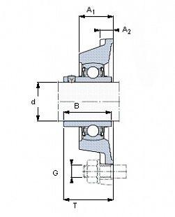 Чертеж-схема подшипника YAR 205-2FW/VA228 SKF