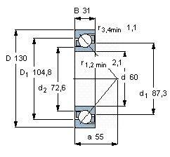 Чертеж-схема подшипника 7312