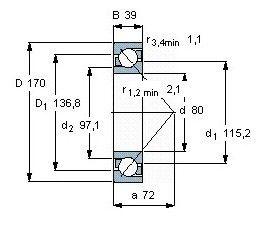 Чертеж-схема подшипника 7-316