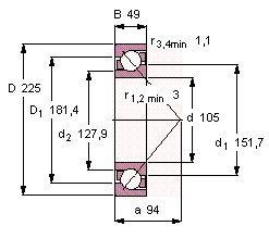 Чертеж-схема подшипника 7321