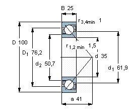 Чертеж-схема подшипника 7407