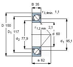 Чертеж-схема подшипника 7-412
