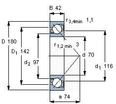 Чертеж-схема подшипника 7414