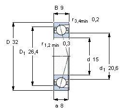 Чертеж-схема подшипника B7002
