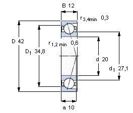 Чертеж-схема подшипника B7004