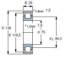 Чертеж-схема подшипника N215 ECP