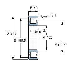Чертеж-схема подшипника N224 ECM