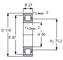 Чертеж-схема подшипника N310 ECP