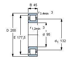 Чертеж-схема подшипника N319 ECP