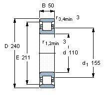 Чертеж-схема подшипника N322 ECP