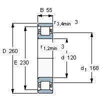 Чертеж-схема подшипника N324 ECM