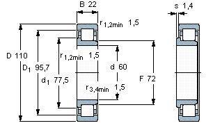 Чертеж-схема подшипника NJ212 ECJ