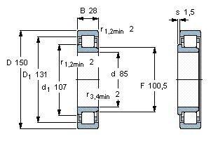 Чертеж-схема подшипника NJ217 EAP
