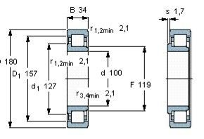 Чертеж-схема подшипника NJ220 ECJ