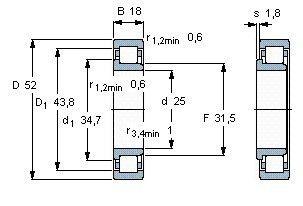 Чертеж-схема подшипника NJ2205 ECP