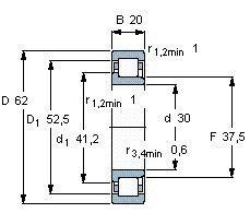 Чертеж-схема подшипника NJ2206 ECP