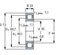 Чертеж-схема подшипника NJ2207 EJL