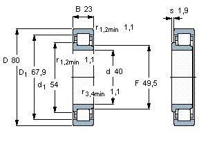 Чертеж-схема подшипника NJ2208 ECP