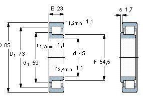 Чертеж-схема подшипника NJ221 ECP