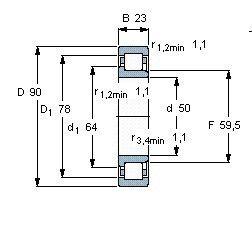 Чертеж-схема подшипника NJ2210 ECJ