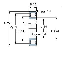 Чертеж-схема подшипника NJ2210 ECM