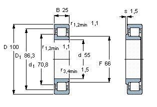 Чертеж-схема подшипника NJ2211 ECP